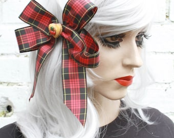 Red Tartan Cupcake Ribbon Hair Clip Bow