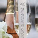 Champagne Flute or Wine Glass Escort Card Place Card Scroll