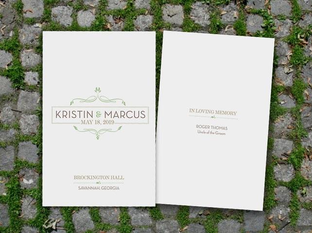 Organic Romance Wedding Ceremony Program