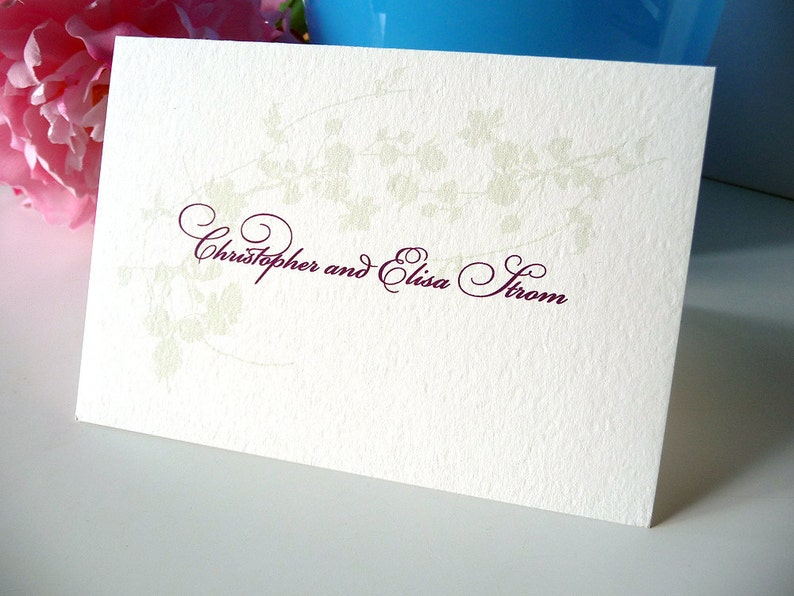 Set of 50 Personalized Cotton Blossom Note Cards
