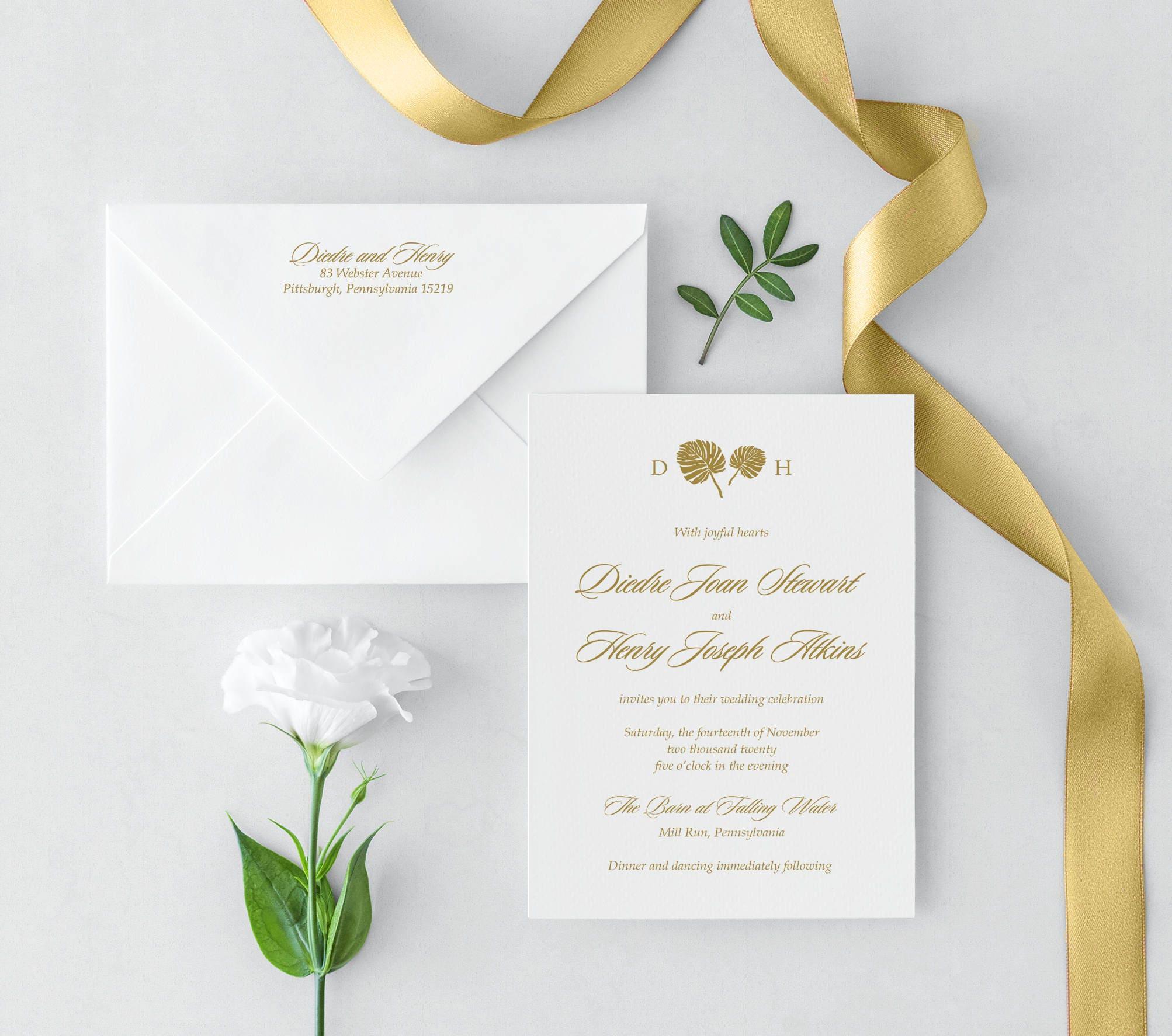 Elegant Palms Wedding Invitation | Etsy
