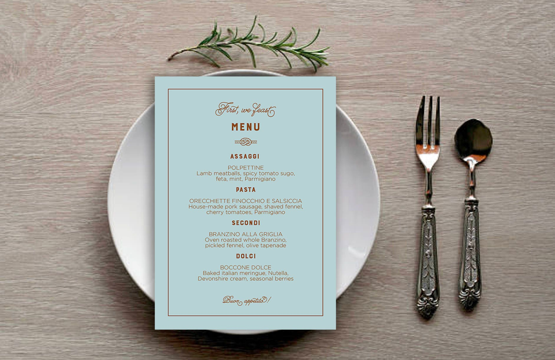 Tie the Knot Simple and Modern Menu Cards