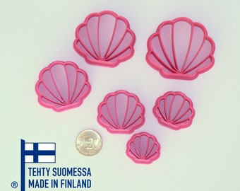 Clam shell polymer clay cutters, 3D printed