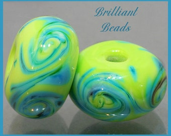 Lime & Turquoise Swirled Glass Beads - Handmade Lampwork Pair SRA, Made To Order