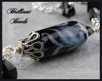 Black & Silver Lampwork Glass Pendant Necklace, Black Onyx and Silver Beaded Necklace SRAJD