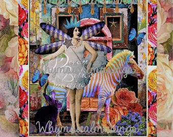 Printable Digital Art Print~ Dream Believe Imagine Fairy~ Collage Sheet~ Instant Download~ Mixed Media~