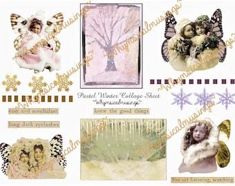 Digital Collage Sheet~ Pastel Winter~ ATC~ Instant Download~Journal~ Scrapbook~ Collage