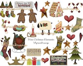 Christmas~ Prim Elements~ Digital Collage Sheet~ ATC~ Instant Download~Journal~ Scrapbook