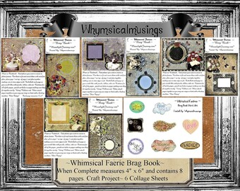 Digital Collage Sheet~ Whimsical Fairy~ Brag Book~ Photo Book~ Craft~ Instant Download~ DIY