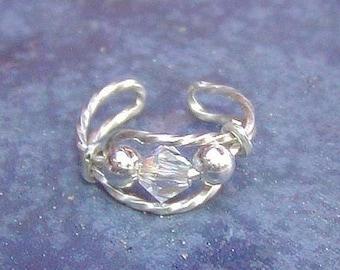 Crystal Ear Cuff - Ear Wrap - Sterling Silver Wire Ear Cuff Glittering Swarovski Crystal - Non Pierced Ear Band