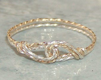 Thin Thumb Ring - Two Tone Ring - Infinity Design - Interlocked Swirls Twist Wire Ring - Silver and Gold - Affordable Ring - Womens Ring