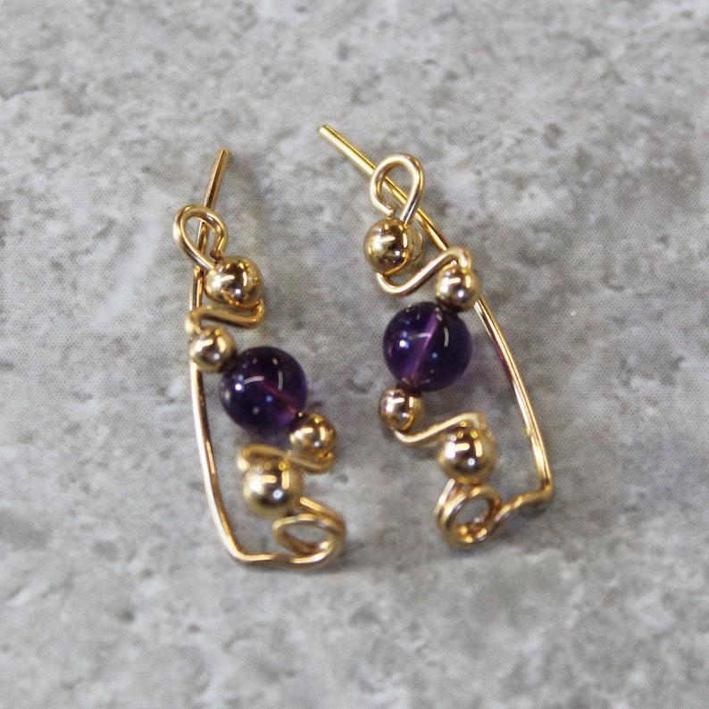 Genuine Amethyst Beads Small Ear Sweeps Ear Sweeps Ear Climbers February Birthstone Earrings Purple Amethyst