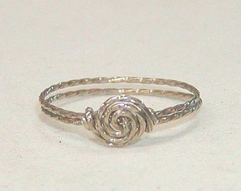 Wire Ring - Twist Wire Ring - Sterling Silver Ring - ON SALE Delicate Swirled Rosette Silver Wire Ring - Thumb Ring - Affordable Ring