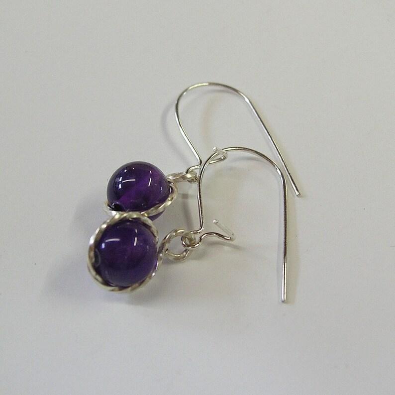 Dangle Earrings Sweet Amethyst Silver Drop Earrings Drop Earrings Amethyst Earrings February Birthstone Amethyst Sterling Earrings