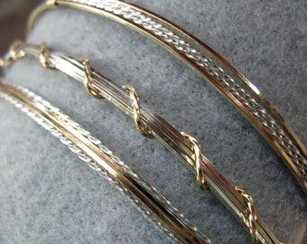 Two Tone Bracelet Set - Stackable Bracelet Set - Silver and Gold Bracelets - Three Bracelets Set - Silver Gold Bangles - Gifts For Her