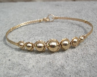 Bracelet - Graduated Smooth Gold Beads Wirewrapped Bracelet - Wire Bangle - Affordable Bracelet - Bead Bangle - Bead Bracelet - Great Gift