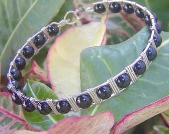 Black Onyx Bracelet- Wirewrapped Bracelet - Silver Bangle - Sleek Black Onyx Sterling Silver Wire Wrapped Bangle - Black and Silver Jewelry