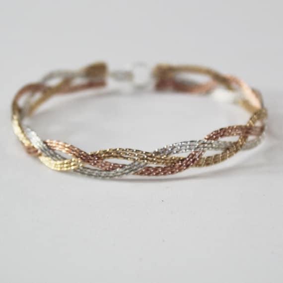 Tri Tone Womens Language of Love Bracelet One Size