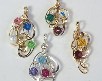 Mother's Pendant - Custom Mothers Jewelry with Birthstones - Swarovski Crystals - Wirewrapped Pendant - One of a Kind