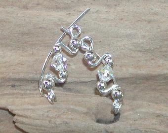Ear Sweeps - Ear Climbers - Twinkling Swarovski Crystal Small Sterling Ear Sweeps - Silver Ear Sweeps - Crystal Ear Sweeps