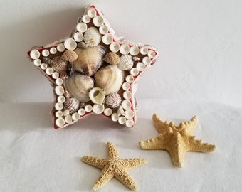 Vintage Star Shaped Shell Covered Box Lined in Red Velvet