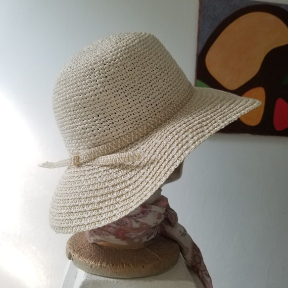 Vintage Summer Woven Straw Sun Hat - image 1