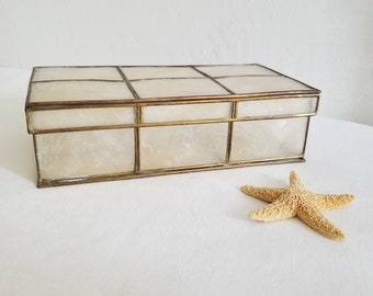 Vintage Brass and shell Jewelry Box