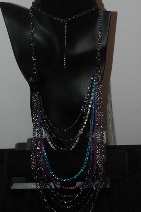 Vintage 90s multi chain necklace - image 1