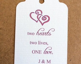Two Hearts Tags - 50 Wedding Tags - Baby Shower - Personalized Tags