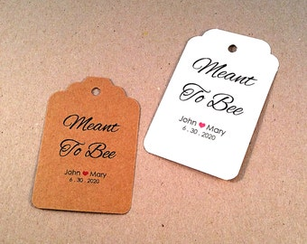 Meant to be Tags,  50 Wedding Tags, Personalized Tags