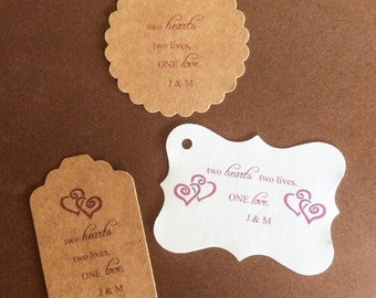 Stickers, Two Hearts,  Wedding Stickers, Personalized Tags, set of 24