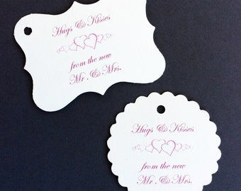 Hugs & Kisses Tags - 50 Wedding Tags - Baby Shower - Personalized Tags