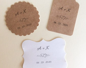Stickers, Initials and date,  Wedding Stickers, Personalized Tags, set of 24