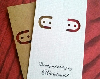 Bridesmaid Card, set of 30, printed jewelry card, earring cards, lever back, leverback