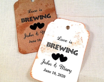 Love is Brewing Tags, vintage card, distressed tag, 50 Wedding Tags, Personalized Tags