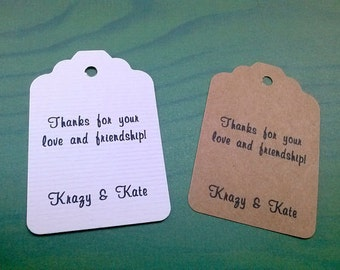 Personalized Wedding tags, custom wedding, set of 50, gift tags, Baby Shower tag, bridal favor