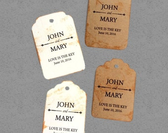 Love is the key Tags, vintage card, distressed tag, 50 Wedding Tags, Personalized Tags