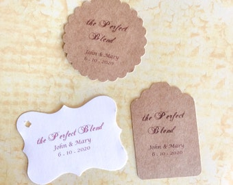 Stickers, The Perfect Blend,  Wedding Stickers, Personalized Tags, set of 24