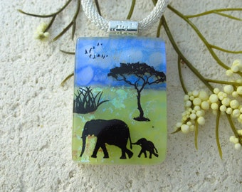Handmade Mother & Baby Elephant, Elephant Necklace, Safari Dichroic Necklace, Fused Glass Necklace, Dichroic Jewelry, ccvalenzo, 081421p101
