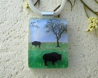 Handmade OOAK  Buffalo  Bison Tree Necklace, Fused Glass Jewelry,  Buffalo Pendant Necklace . Fused Pendant, Dichroic Jewelry, 091921p100