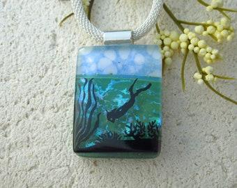 Handmade Deep Sea Diver Necklace, Diver  Dichroic Necklace, Fused Glass Necklace,  Ocean Necklace, Dichroic Pendant ccvalenzo, 091921p103