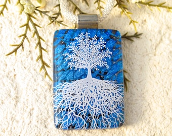 Tree Necklace, Fused Glass Jewelry, Rooted Tree, Tree of Life Jewelry, Fused Glass Handmade Necklace, Blue & White Necklace, 100821p100