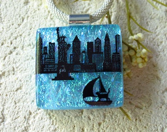 Suitcase the Cat Glass Jewelry, Skyline Statue Liberty, Cat NY Skyline, Fused Glass Jewelry, Necklace  Handmade Dichroic Jewelry, 091521p103