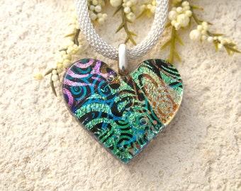 Petite OOAK Handmade Heart Necklace, Rainbow Heart Necklace, Dichroic Necklace,  Dichroic Fused Glass Necklace, ccvalenzo, 082521p102