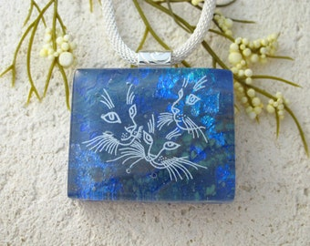 Three Cats Handmade Blue Necklace, Glass Jewelry,  ccvalenzo, Fused Glass Jewelry, Cat Pendant Necklace, Dichroic Glass Jewelry, 091521p105