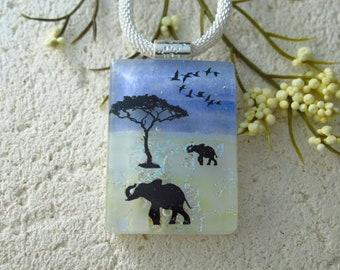 Handmade Mother & Baby Elephant, Raised Trunk Elephant Necklace, Necklace, Fused Glass Necklace, Dichroic Jewelry, ccvalenzo, 091921p104