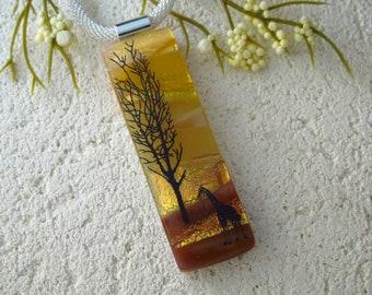Handmade OOAK  Golden Giraffe Tree Necklace, Fused Glass Jewelry,  Giraffe Pendant Necklace . Fused Pendant, Dichroic Jewelry, 091921p101