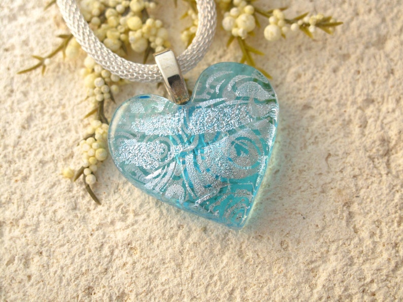 6cf57da9d11f6 Handmade Heart Necklace, OOAK Necklace, Dichroic Necklace, Silver Blue ,  Fused Glass Necklace, Dichroic Jewelry,ccvalenzo, 093018p101Heart