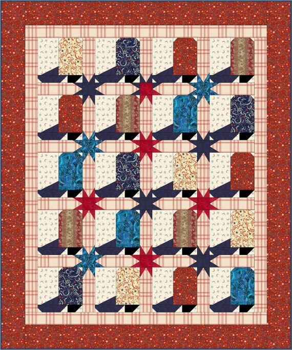 Western Patriotic Cowboy Boot Quilt Pattern 58x70 Inches Instant Download Pdf Pattern