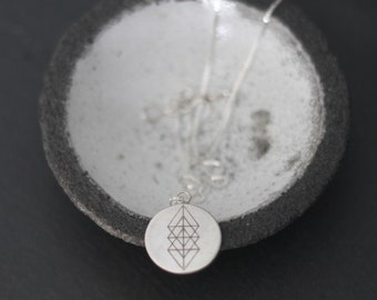 Sacred Geometry Charm Necklace, Silver Charm Necklace, Sterling Silver Necklace